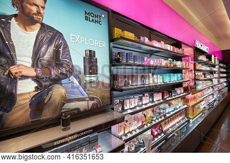 KUALA LUMPUR, MALAYSIA - CIRCA JANUARY, 2020: fragrances on display at a store in Suria KLCC shopping mall in Kuala Lumpur.
