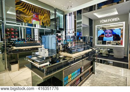 KUALA LUMPUR, MALAYSIA - CIRCA JANUARY, 2020: Tom Ford fragrances on display at Suria KLCC shopping mall in Kuala Lumpur.