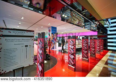 KUALA LUMPUR, MALAYSIA - CIRCA JANUARY, 2020: anti-theft system at the entrance of Sephora store in Suria KLCC shopping mall in Kuala Lumpur.