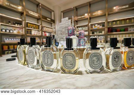 KUALA LUMPUR, MALAYSIA - CIRCA JANUARY, 2020: Diptyque fragrances on display at KENS apothecary store in Suria KLCC shopping mall in Kuala Lumpur.