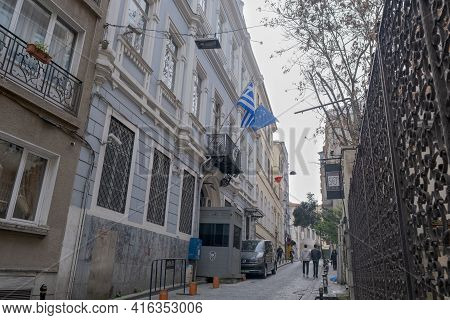 Taksim, Istanbul, Turkey - 03.12.2021: Street Of Greece Consulate General Istanbul Historical Buildi