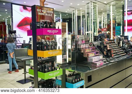 KUALA LUMPUR, MALAYSIA - CIRCA JANUARY, 2020: MAC personal care products on display at Suria KLCC shopping mall in Kuala Lumpur.