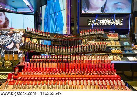 KUALA LUMPUR, MALAYSIA - CIRCA JANUARY, 2020: lipstick display at Dior Store in Suria KLCC shopping mall in Kuala Lumpur.