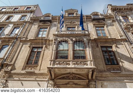 Taksim, Istanbul, Turkey - 03.12.2021: Historical Building Of Greece Consulate General Istanbul And