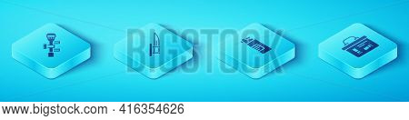 Set Isometric Sniper Optical Sight, Bayonet On Rifle, Military Ammunition Box And Weapons Oil Bottle