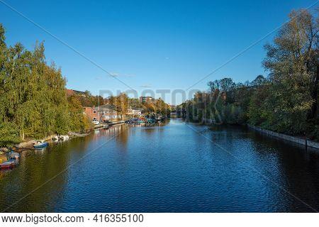 View From Großheidesteg To The Osterbek Canal, Hamburg Winterhude, Germany - November 29, 2019.