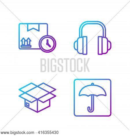 Set Line Umbrella, Carton Cardboard Box, Cardboard Box And Fast Time And Headphones. Gradient Color