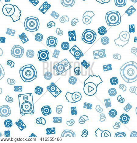 Set Line Stereo Speaker, Head People With Play Button And Stereo Speaker On Seamless Pattern. Vector