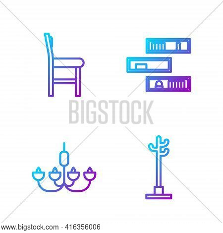 Set Line Coat Stand, Chandelier, Chair And Shelf With Books. Gradient Color Icons. Vector