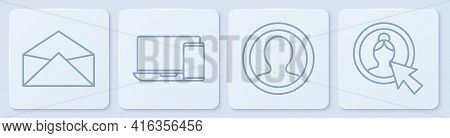 Set Line Envelope, Create Account Screen, Monitor And Phone And Create Account Screen. White Square