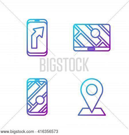 Set Line Location, City Map Navigation, City Map Navigation And City Map Navigation. Gradient Color