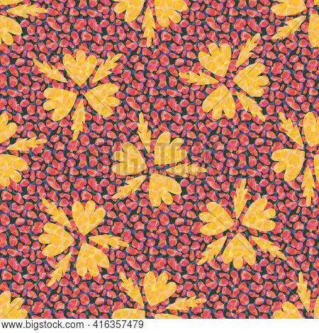 Faux Leather And Florals Texture Vector Seamless Pattern Background. Backdrop With Tropical Color Bl