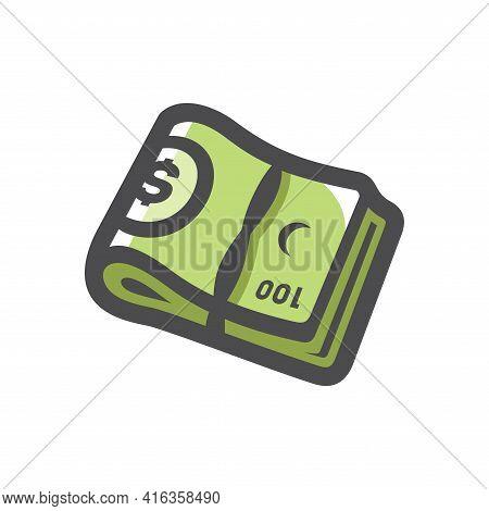 Money Green Wad Vector Icon Cartoon Illustration