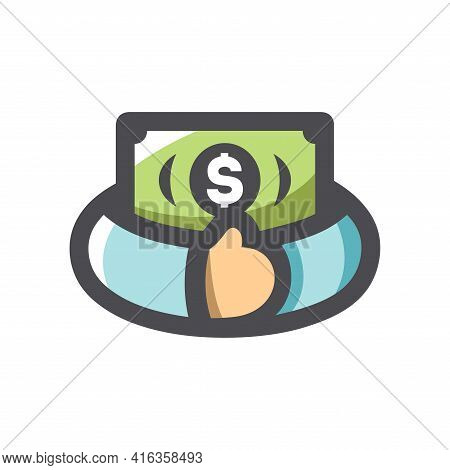 Greed For Money Hands With Cash Vector Icon Cartoon Illustration
