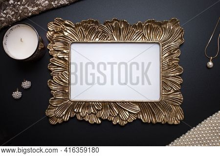 Elegant Background, Template For Text, Logo Or Picture. Golden Decorative Picture Frame And Jeweller