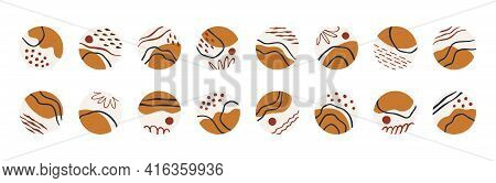 Highlight Icons For Social Media Stories. Set Of Round Covers With Abstract Elements, Earth Tones. B