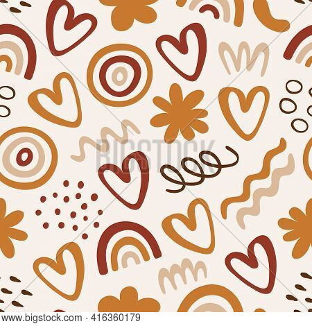 Seamless Pattern With Abstract Organic Shapes: Rainbow, Waves, Flowers, Hearts, Dots. Vector Illustr