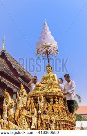 Chiang Mai, Thailand - April 13, 2019  : Chiangmai Songkran Festival. Buddha Phra Singh Of Phra Sing