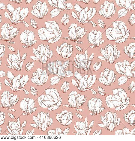 Seamless Pattern With Magnolia Flowers. Blooming Buds In Sketch Style On Pink Background. Imitation