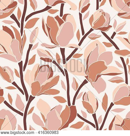 Seamless Pattern With Magnolia Flowers. Trendy Minimalistic Style, Branches With Blooming Buds On A