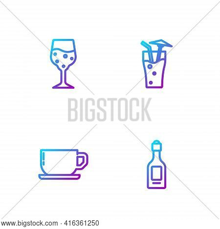 Set Line Champagne Bottle, Coffee Cup, Glass Champagne And Cocktail. Gradient Color Icons. Vector