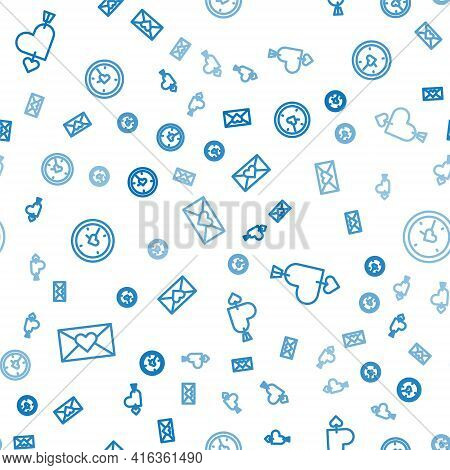 Set Line Envelope With Valentine Heart, Amour And Arrow And Clock On Seamless Pattern. Vector