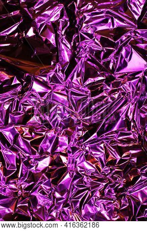 Foil Background. Crumpled Foil. Abstract Background. Wallpaper. Pink