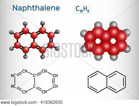 Naphthalene Molecule. It Is Aromatic Hydrocarbon Comprising Two Fused Benzene Rings. Structural Chem