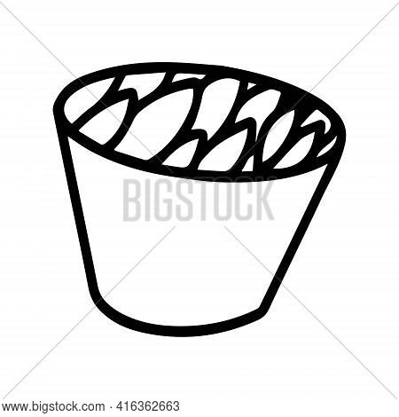Vector Illustration With A Bowl In The Style Of Doodle. A Plate Or Bowl Drawn With A Black Line.