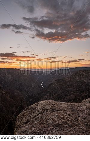Final Light Of The Day From Sunset View Over Black Canyon Of The Gunnison