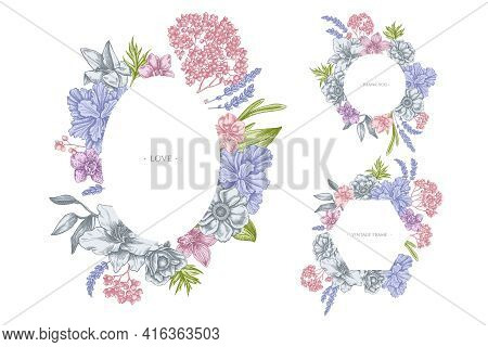 Floral Frames With Pastel Anemone, Lavender, Rosemary Everlasting, Phalaenopsis, Lily, Iris Stock Il