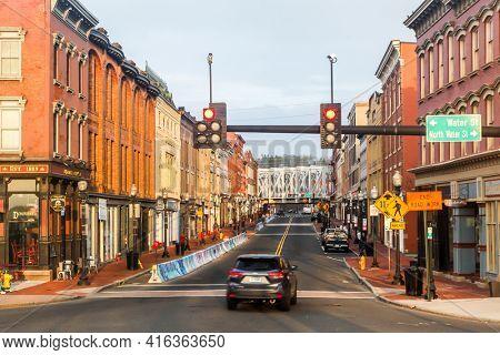 NORWALK, CT,USA  - APRIL 10, 2021:  Downtown morning view from Washington Street