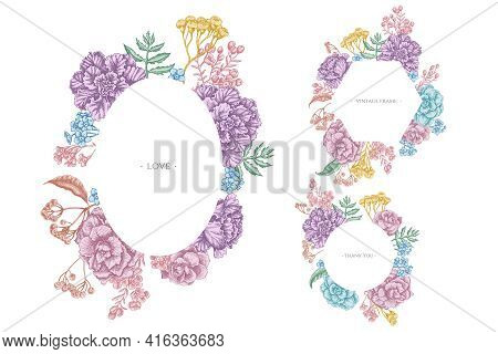 Floral Frames With Pastel Wax Flower, Forget Me Not Flower, Tansy, Ardisia, Brassica, Decorative Cab