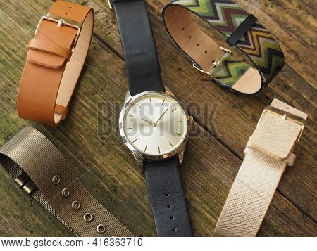 Classic Wristwatch With Straps Of Different Colors. Fashion Accessories.