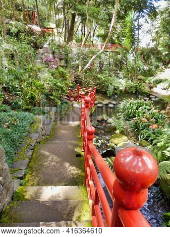 Japanese Garden In The Monte Palace Tropical Gardens, Funchal, Madeira