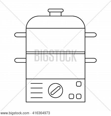 Electric Food Steamer Outline Icon. Thin Line Vector Sign Isolated On White Background. Illustration
