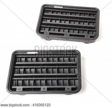 Body Ventilation Grille Flap In Black For Interior On White Isolated Background. Used Spare Parts Fr
