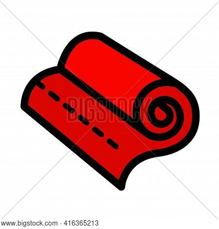 Fabric Roll Color Icon. Simple Style Vector Illustration With Ability To Change.