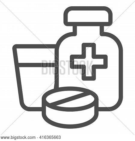 Medicinal Product In Bottle And Tablet With Glass Line Icon, Animal Hospital Concept, Medicine Sign