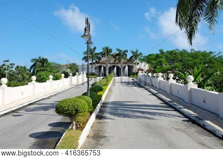 PUNTA CANA, DOMINICAN REPUBLIC - DEC 21, 2016:Main Drive Entrance to Dreams Punta Cana in the Dominican Republic. The resort is one of several properties in the AMResorts Collection.