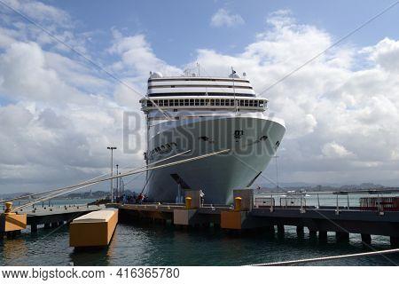 SAN JUAN, PUERTO RICO - 20 MAR 2012: MSC Poesia at the dock in Puerto Rico.