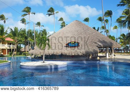 PUNTA CANA, DOMINICAN REPUBLIC - DEC 21, 2016:Manatees Bar at Dreams Punta Cana in the Dominican Republic. The resort is one of several properties in the AMResorts Collection.