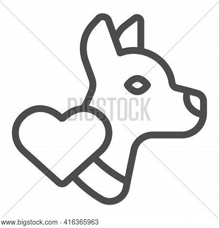 Dog Silhouette And Heart Line Icon, Animal Hospital Concept, We Love Dogs Sign On White Background,