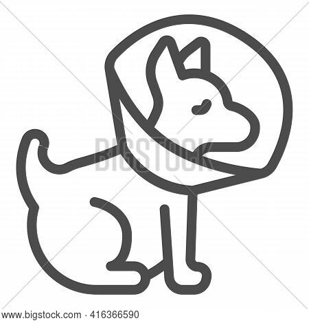 Puppy With Protective Collar Line Icon, Animal Hospital Concept, Pet Elizabethan Collar Sign On Whit