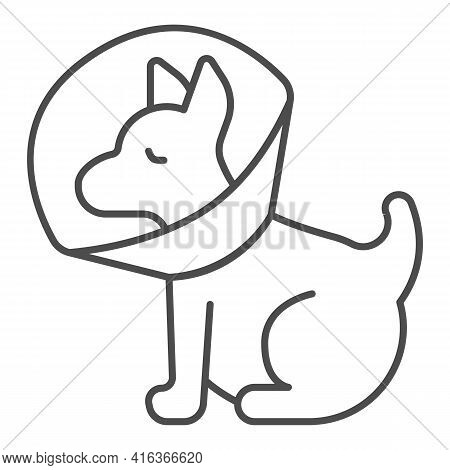 Puppy With Protective Collar Thin Line Icon, Animal Hospital Concept, Pet Elizabethan Collar Sign On