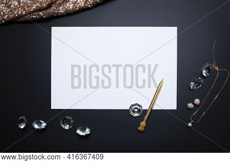 Elegant Background, Template For Text Or Logo. White, Empty Paper Sheet, Jewellery And Other Accesso