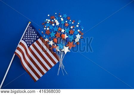 Happy Labor Day Banner. Red, White, Blue Color Stars And Baloons With Flag On Blue Background.