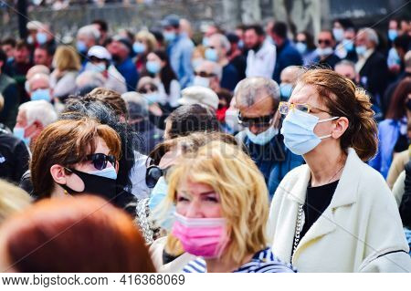Tbilisi, Georgia - 9th April, 2021: Many People With Mask On Protest.
