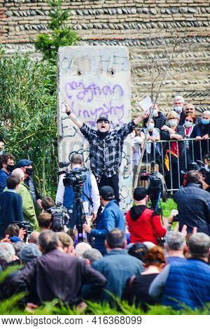 Tbilisi, Georgia - 9th April, 2021: Giorgi Gachechiladze Writing