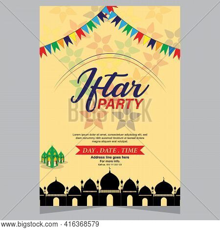 Iftar Party Celebration Concept Flyer. A Beautiful Invitation Card & Flyer For Iftar Dinner Celebrat